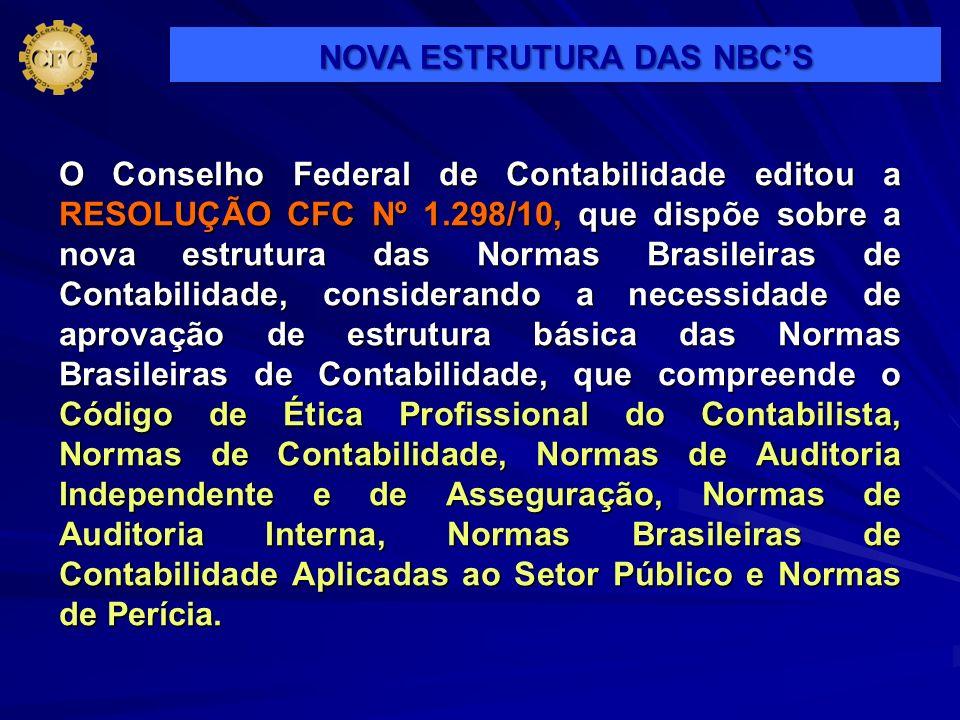 O Conselho Federal de Contabilidade editou a RESOLUÇÃO CFC Nº 1.298/10, que dispõe sobre a nova estrutura das Normas Brasileiras de Contabilidade, con