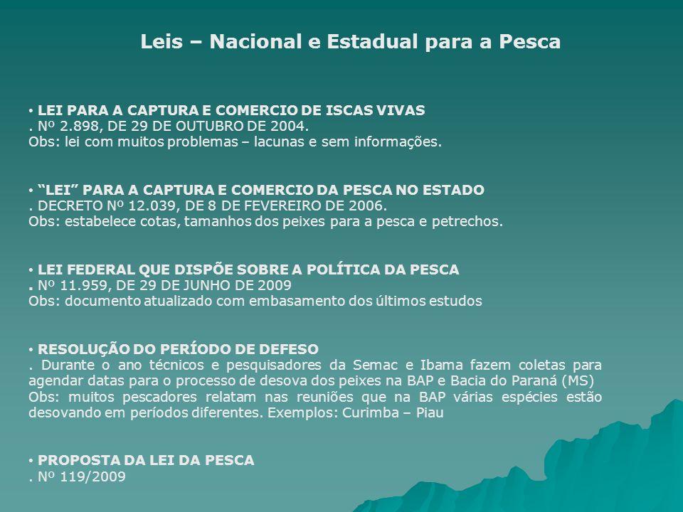 LEI PARA A CAPTURA E COMERCIO DE ISCAS VIVAS. Nº 2.898, DE 29 DE OUTUBRO DE 2004. Obs: lei com muitos problemas – lacunas e sem informações. LEI PARA