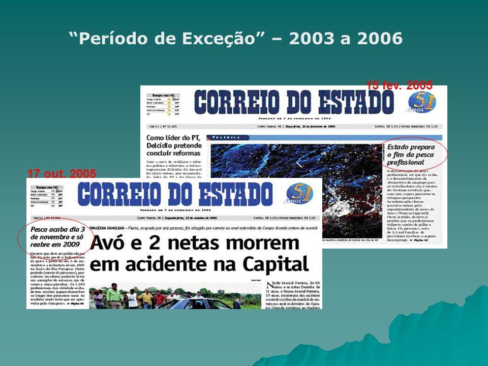 Período de Exceção – 2003 a 2006 15 fev. 2005 17 out. 2005