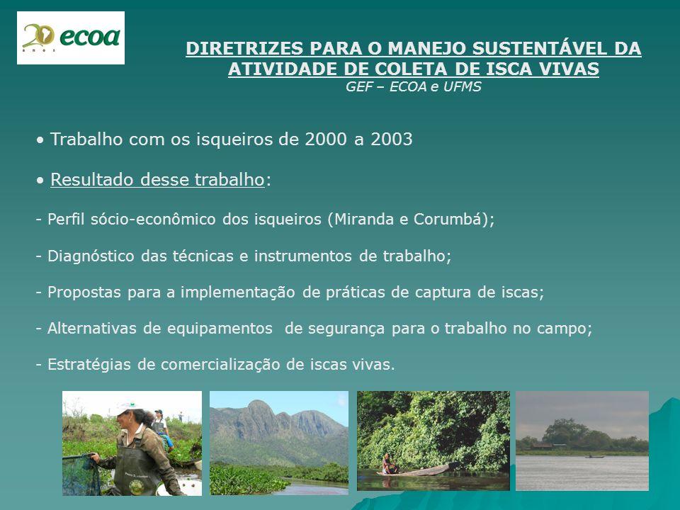 DIRETRIZES PARA O MANEJO SUSTENTÁVEL DA ATIVIDADE DE COLETA DE ISCA VIVAS GEF – ECOA e UFMS Trabalho com os isqueiros de 2000 a 2003 Resultado desse t