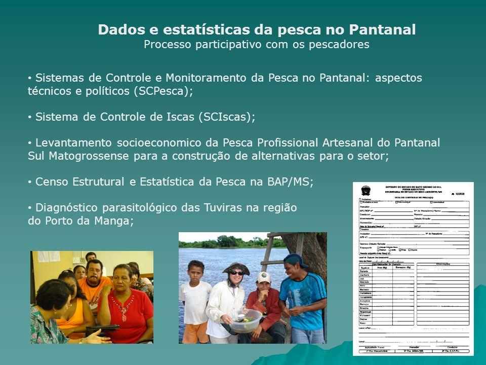 Dados e estatísticas da pesca no Pantanal Processo participativo com os pescadores Sistemas de Controle e Monitoramento da Pesca no Pantanal: aspectos