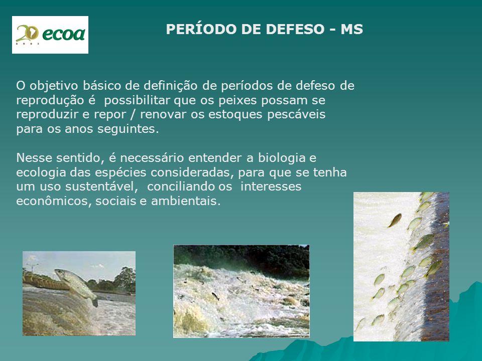 PERÍODO DE DEFESO - MS O objetivo básico de definição de períodos de defeso de reprodução é possibilitar que os peixes possam se reproduzir e repor /
