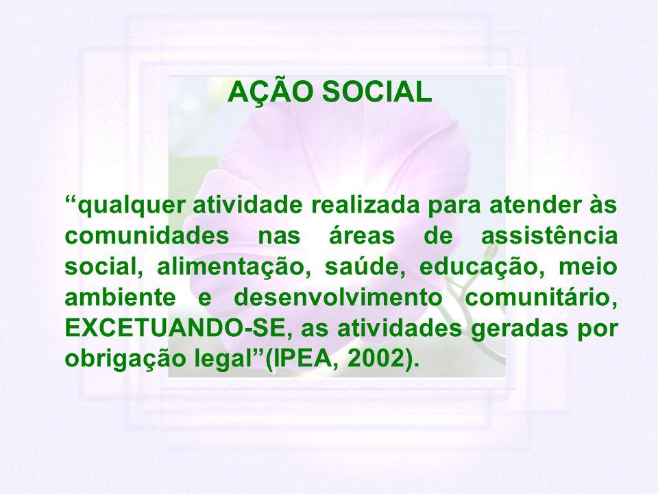 AÇÃO SOCIAL qualquer atividade realizada para atender às comunidades nas áreas de assistência social, alimentação, saúde, educação, meio ambiente e de