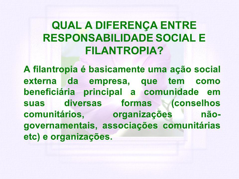 QUAL A DIFERENÇA ENTRE RESPONSABILIDADE SOCIAL E FILANTROPIA? A filantropia é basicamente uma ação social externa da empresa, que tem como beneficiári