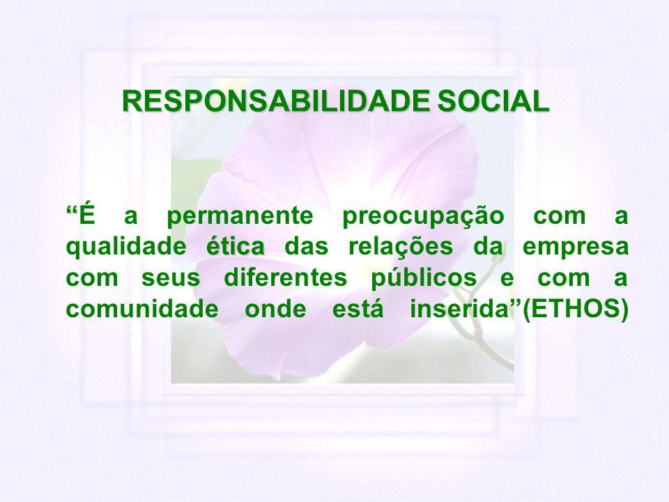 RESPONSABILIDADE SOCIAL éticaÉ a permanente preocupação com a qualidade ética das relações da empresa com seus diferentes públicos e com a comunidade