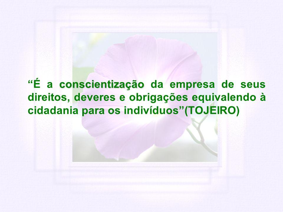 conscientização É a conscientização da empresa de seus direitos, deveres e obrigações equivalendo à cidadania para os indivíduos(TOJEIRO)