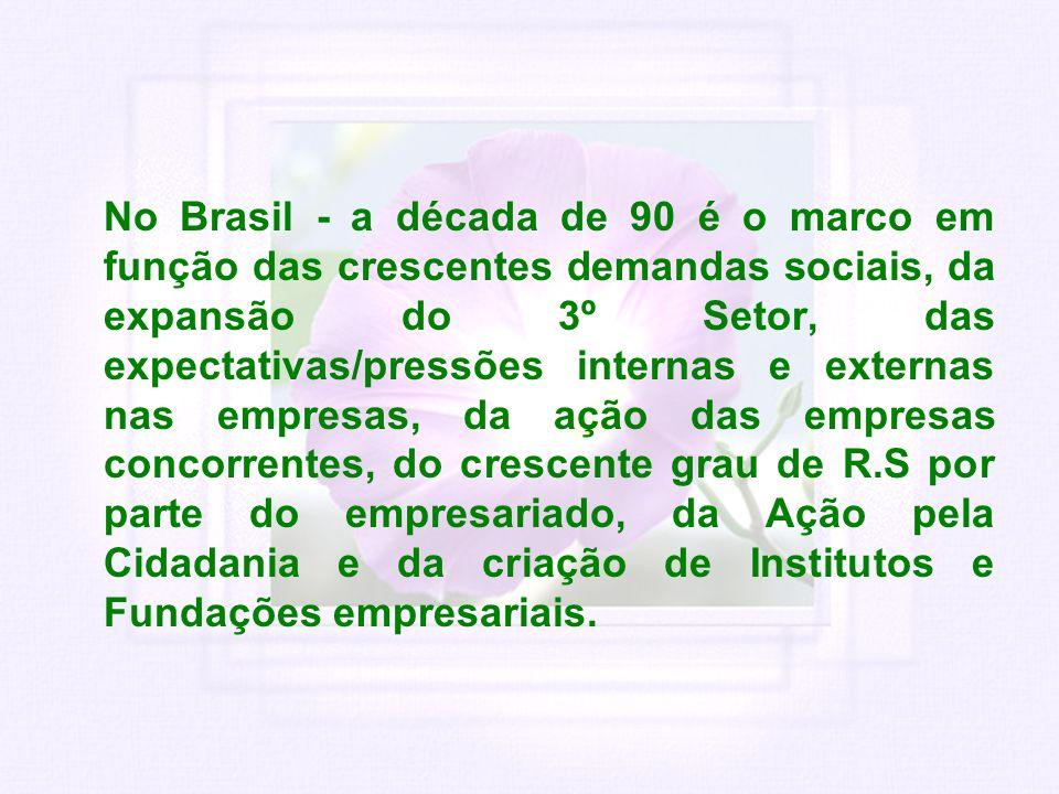 No Brasil - a década de 90 é o marco em função das crescentes demandas sociais, da expansão do 3º Setor, das expectativas/pressões internas e externas