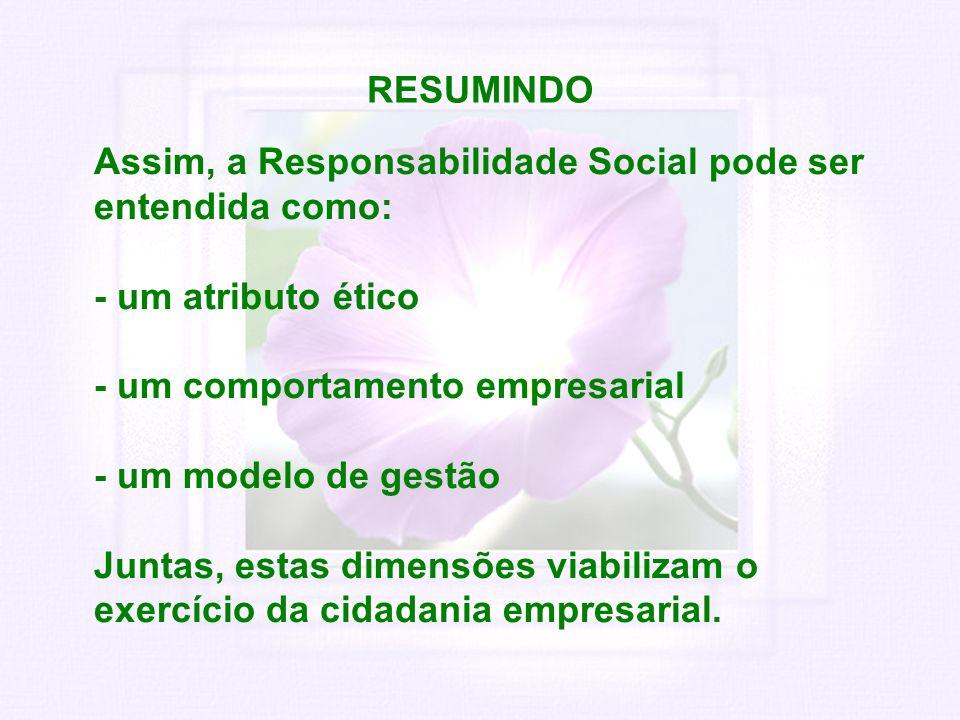 RESUMINDO Assim, a Responsabilidade Social pode ser entendida como: - um atributo ético - um comportamento empresarial - um modelo de gestão Juntas, e