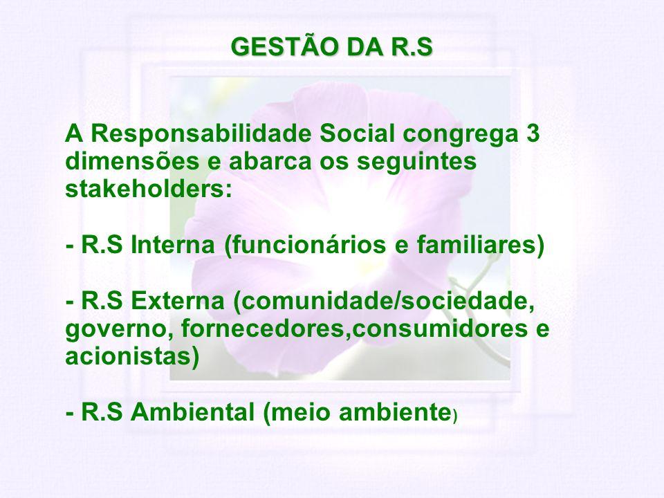 GESTÃO DA R.S A Responsabilidade Social congrega 3 dimensões e abarca os seguintes stakeholders: - R.S Interna (funcionários e familiares) - R.S Exter