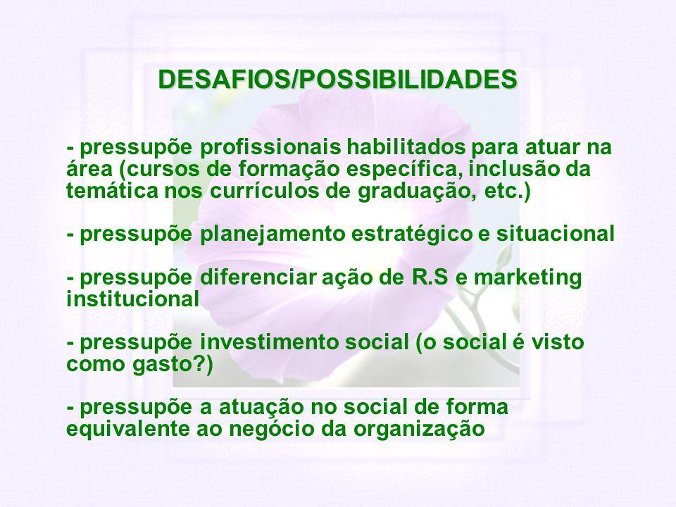 DESAFIOS/POSSIBILIDADES - pressupõe profissionais habilitados para atuar na área (cursos de formação específica, inclusão da temática nos currículos d