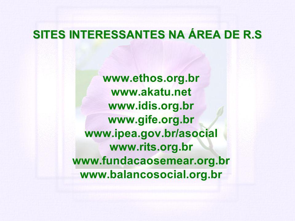 SITES INTERESSANTES NA ÁREA DE R.S www.ethos.org.br www.akatu.net www.idis.org.br www.gife.org.br www.ipea.gov.br/asocial www.rits.org.br www.fundacao