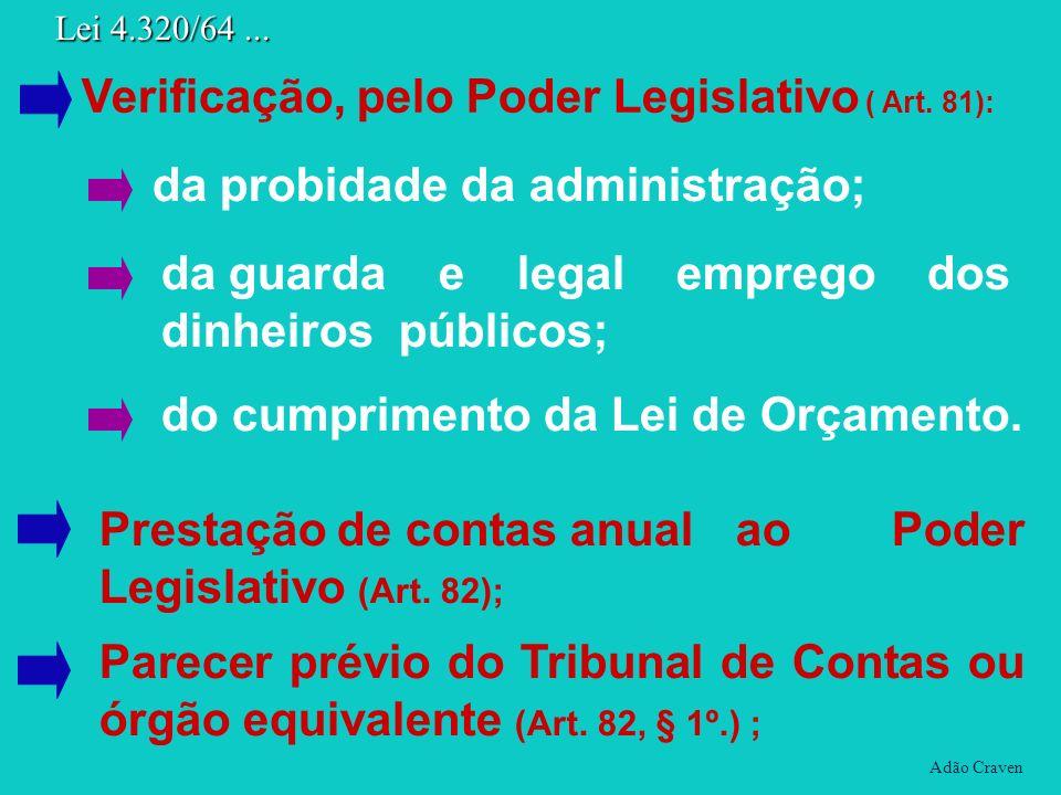 Adão Craven Lei 4.320/64... Prestação de contas anual ao Poder Legislativo (Art. 82); Parecer prévio do Tribunal de Contas ou órgão equivalente (Art.