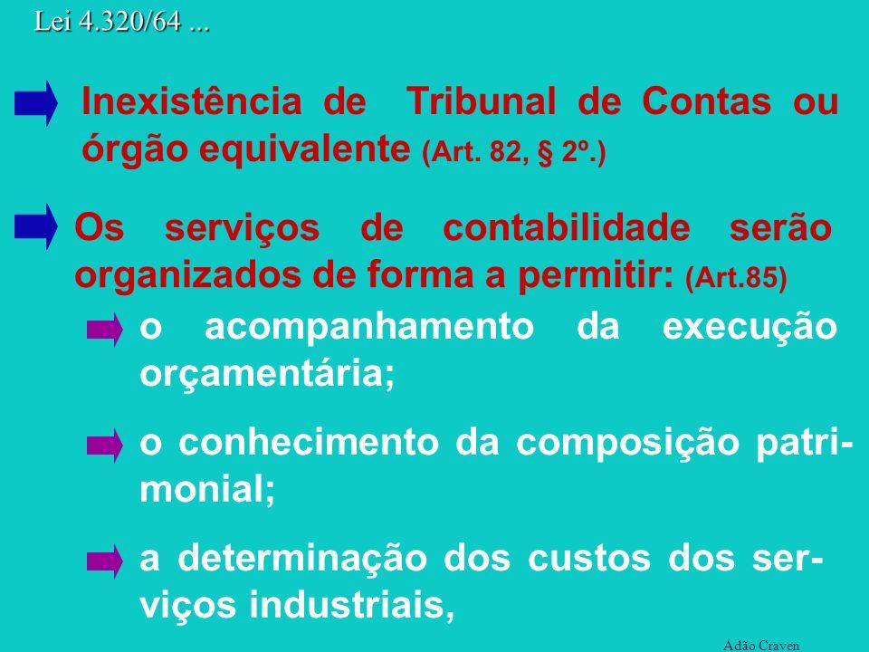 a determinação dos custos dos ser- viços industriais, Adão Craven Lei 4.320/64... Inexistência de Tribunal de Contas ou órgão equivalente (Art. 82, §