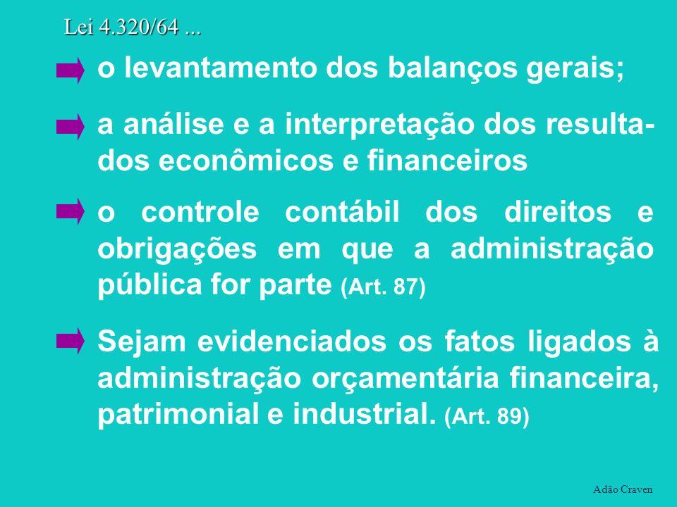 Adão Craven Lei 4.320/64... o levantamento dos balanços gerais; a análise e a interpretação dos resulta- dos econômicos e financeiros o controle contá