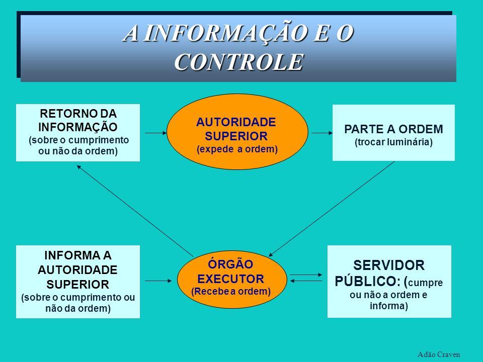 AUTORIDADE SUPERIOR (expede a ordem) INFORMA A AUTORIDADE SUPERIOR (sobre o cumprimento ou não da ordem) ÓRGÃO EXECUTOR (Recebe a ordem) PARTE A ORDEM