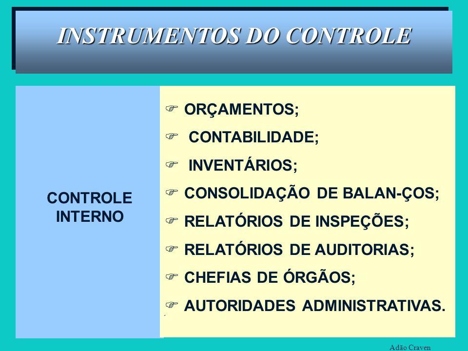 CONTROLE INTERNO ORÇAMENTOS; CONTABILIDADE; INVENTÁRIOS; CONSOLIDAÇÃO DE BALAN-ÇOS; RELATÓRIOS DE INSPEÇÕES; RELATÓRIOS DE AUDITORIAS; CHEFIAS DE ÓRGÃ