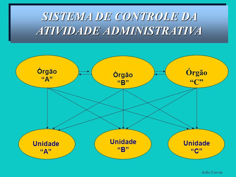 Órgão B Órgão A Unidade A Unidade B Unidade C Órgão C Adão Craven SISTEMA DE CONTROLE DA ATIVIDADE ADMINISTRATIVA