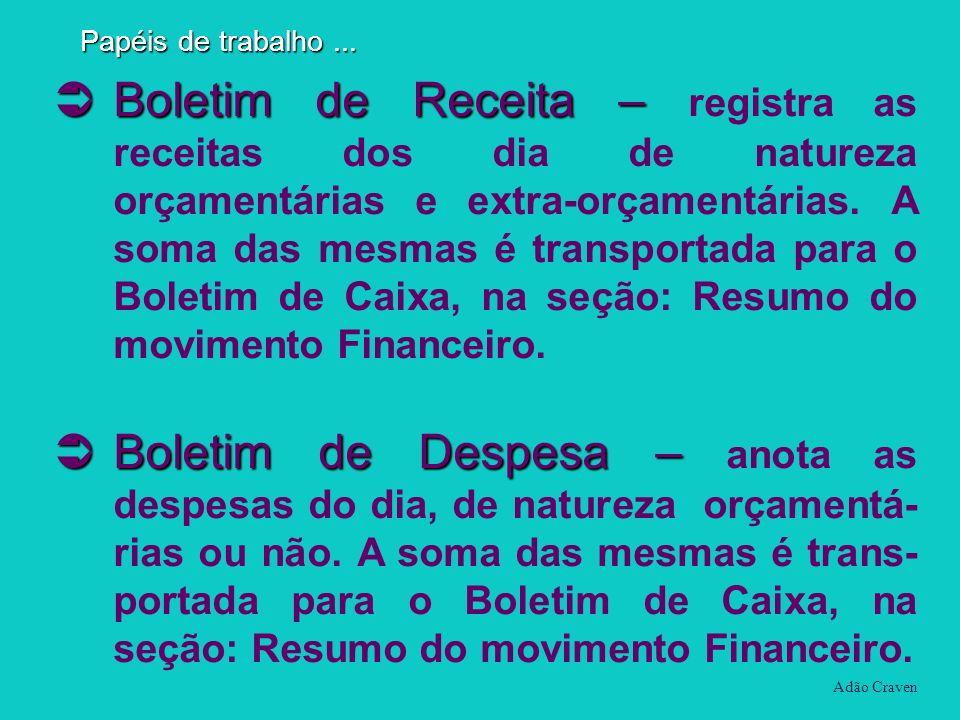 Boletim de Receita – Boletim de Receita – registra as receitas dos dia de natureza orçamentárias e extra-orçamentárias. A soma das mesmas é transporta