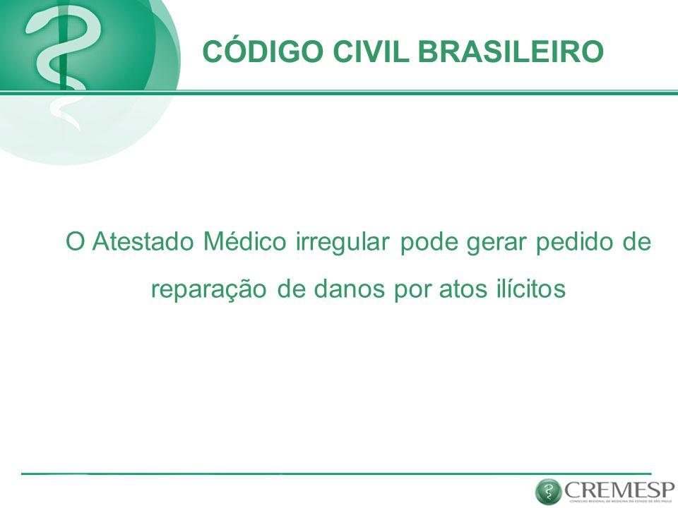 O Atestado Médico irregular pode gerar pedido de reparação de danos por atos ilícitos CÓDIGO CIVIL BRASILEIRO