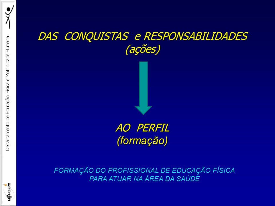 Departamento de Educação Física e Motricidade Humana DAS CONQUISTAS e RESPONSABILIDADES (ações) AO PERFIL (formação) FORMAÇÃO DO PROFISSIONAL DE EDUCA