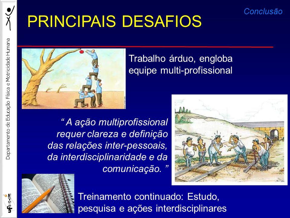 Departamento de Educação Física e Motricidade Humana A ação multiprofissional requer clareza e definição das relações inter-pessoais, da interdiscipli