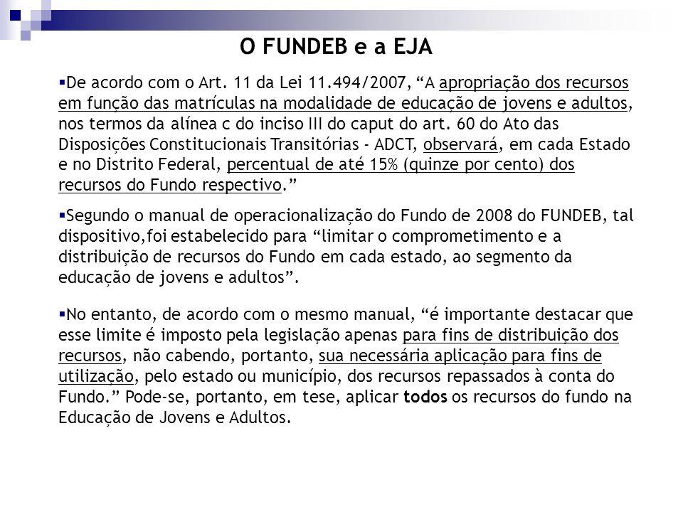 De acordo com o Art. 11 da Lei 11.494/2007, A apropriação dos recursos em função das matrículas na modalidade de educação de jovens e adultos, nos ter