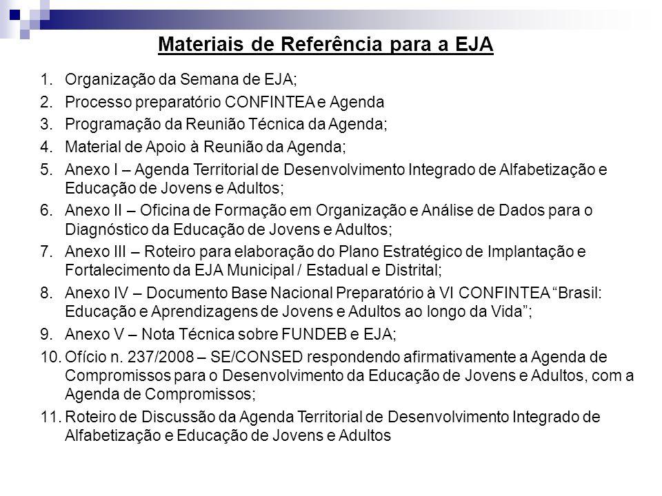 Materiais de Referência para a EJA 1.Organização da Semana de EJA; 2.Processo preparatório CONFINTEA e Agenda 3.Programação da Reunião Técnica da Agen