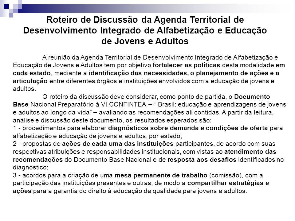 Roteiro de Discussão da Agenda Territorial de Desenvolvimento Integrado de Alfabetização e Educação de Jovens e Adultos A reunião da Agenda Territoria