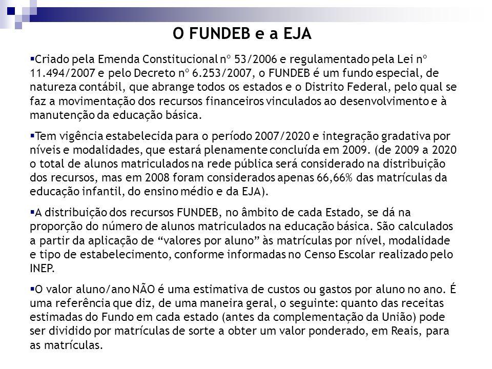 O FUNDEB e a EJA Criado pela Emenda Constitucional nº 53/2006 e regulamentado pela Lei nº 11.494/2007 e pelo Decreto nº 6.253/2007, o FUNDEB é um fund