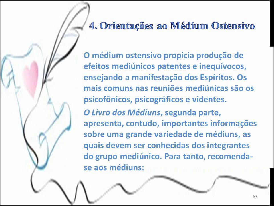 O médium ostensivo propicia produção de efeitos mediúnicos patentes e inequívocos, ensejando a manifestação dos Espíritos. Os mais comuns nas reuniões