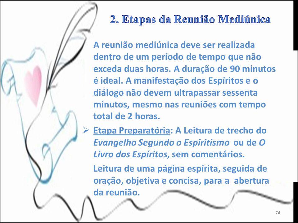 A reunião mediúnica deve ser realizada dentro de um período de tempo que não exceda duas horas. A duração de 90 minutos é ideal. A manifestação dos Es