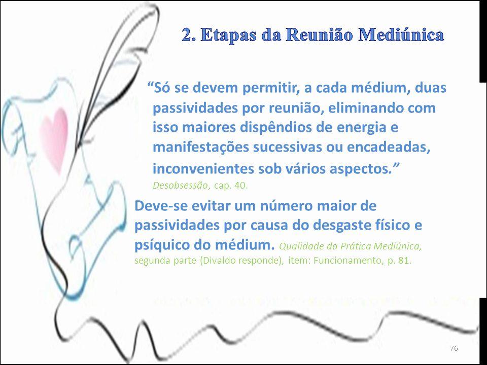 Só se devem permitir, a cada médium, duas passividades por reunião, eliminando com isso maiores dispêndios de energia e manifestações sucessivas ou en