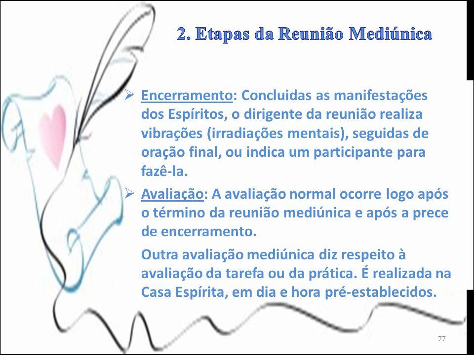 Encerramento: Concluidas as manifestações dos Espíritos, o dirigente da reunião realiza vibrações (irradiações mentais), seguidas de oração final, ou
