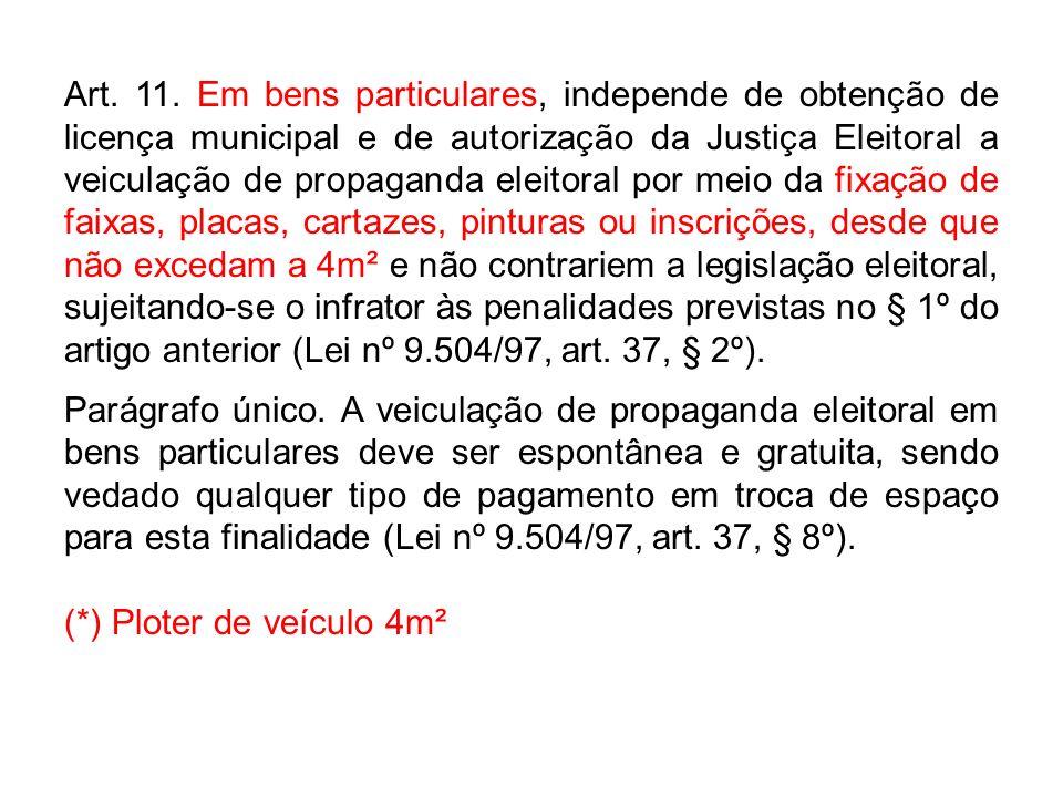 Art. 11. Em bens particulares, independe de obtenção de licença municipal e de autorização da Justiça Eleitoral a veiculação de propaganda eleitoral p