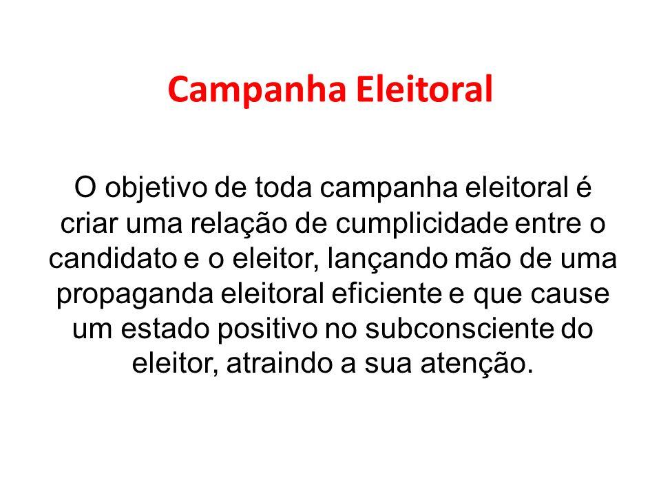 Campanha Eleitoral O objetivo de toda campanha eleitoral é criar uma relação de cumplicidade entre o candidato e o eleitor, lançando mão de uma propag
