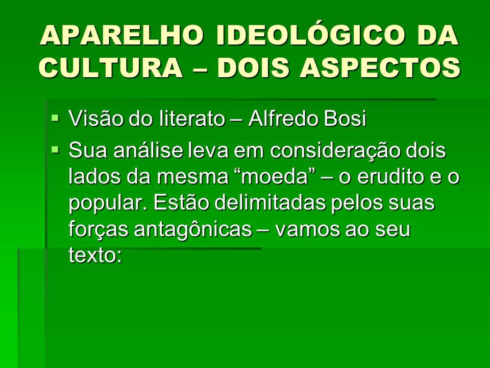 APARELHO IDEOLÓGICO DA CULTURA – DOIS ASPECTOS Visão do literato – Alfredo Bosi Visão do literato – Alfredo Bosi Sua análise leva em consideração dois