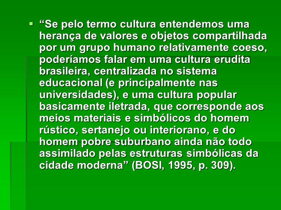 Se pelo termo cultura entendemos uma herança de valores e objetos compartilhada por um grupo humano relativamente coeso, poderíamos falar em uma cultu