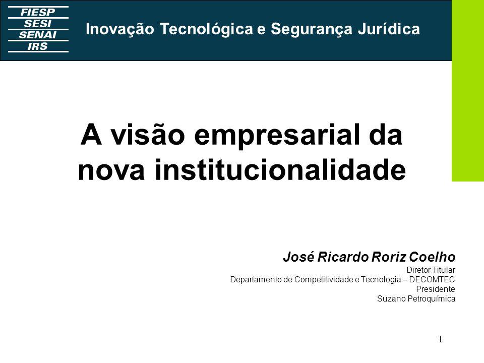 1 A visão empresarial da nova institucionalidade José Ricardo Roriz Coelho Diretor Titular Departamento de Competitividade e Tecnologia – DECOMTEC Pre