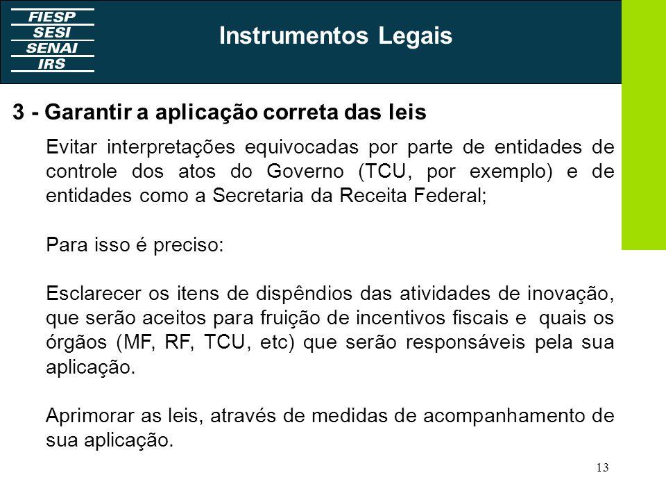 13 3 - Garantir a aplicação correta das leis Evitar interpretações equivocadas por parte de entidades de controle dos atos do Governo (TCU, por exempl