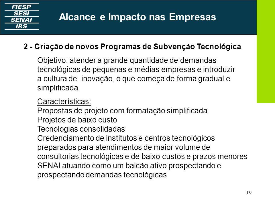 19 2 - Criação de novos Programas de Subvenção Tecnológica Objetivo: atender a grande quantidade de demandas tecnológicas de pequenas e médias empresa