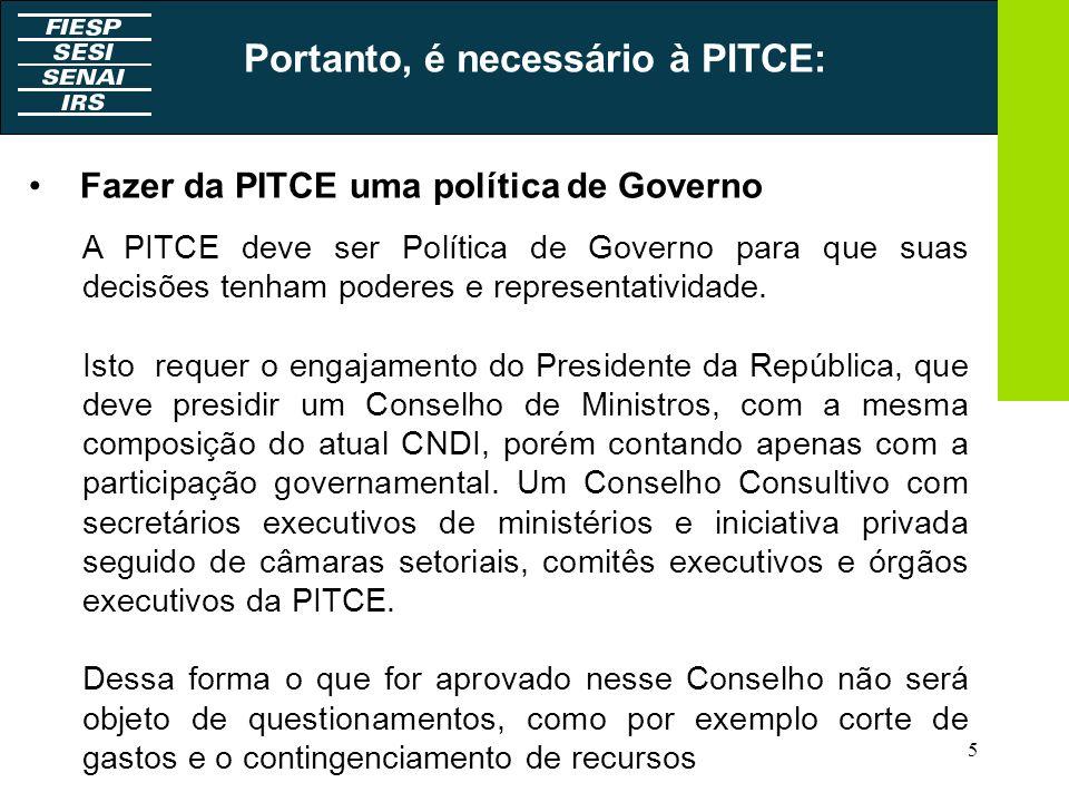 5 Fazer da PITCE uma política de Governo A PITCE deve ser Política de Governo para que suas decisões tenham poderes e representatividade. Isto requer