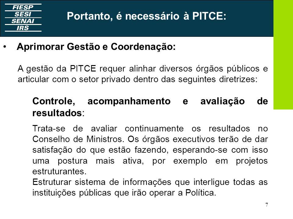 7 Aprimorar Gestão e Coordenação: A gestão da PITCE requer alinhar diversos órgãos públicos e articular com o setor privado dentro das seguintes diret