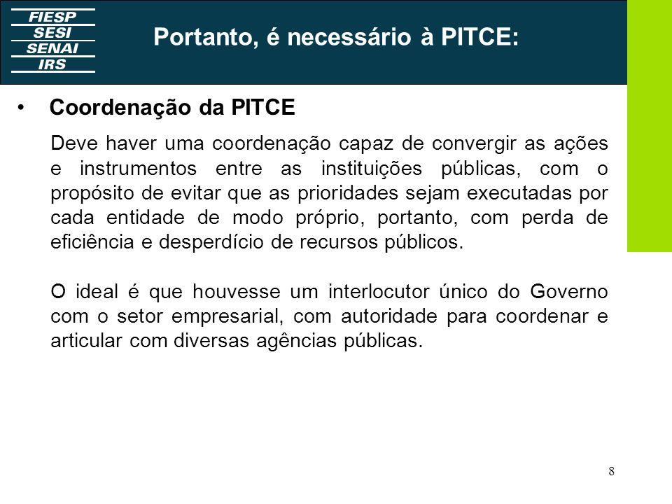 8 Coordenação da PITCE: Deve haver uma coordenação capaz de convergir as ações e instrumentos entre as instituições públicas, com o propósito de evita