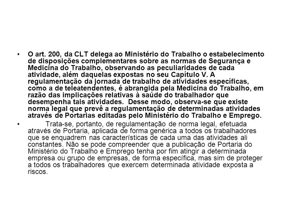 O art. 200, da CLT delega ao Ministério do Trabalho o estabelecimento de disposições complementares sobre as normas de Segurança e Medicina do Trabalh