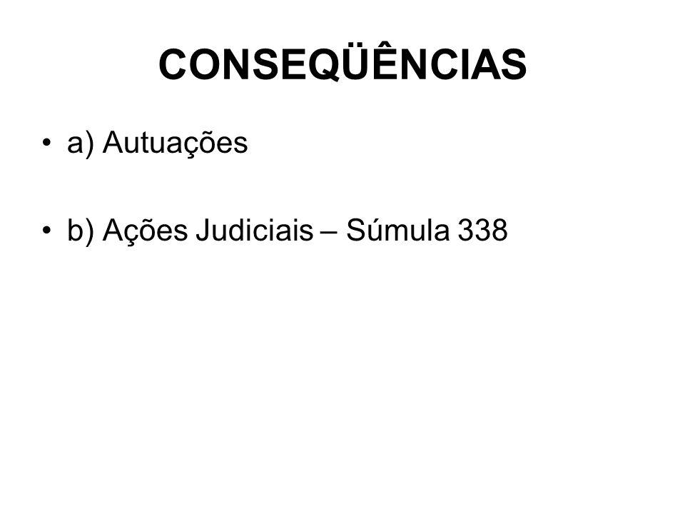 CONSEQÜÊNCIAS a) Autuações b) Ações Judiciais – Súmula 338