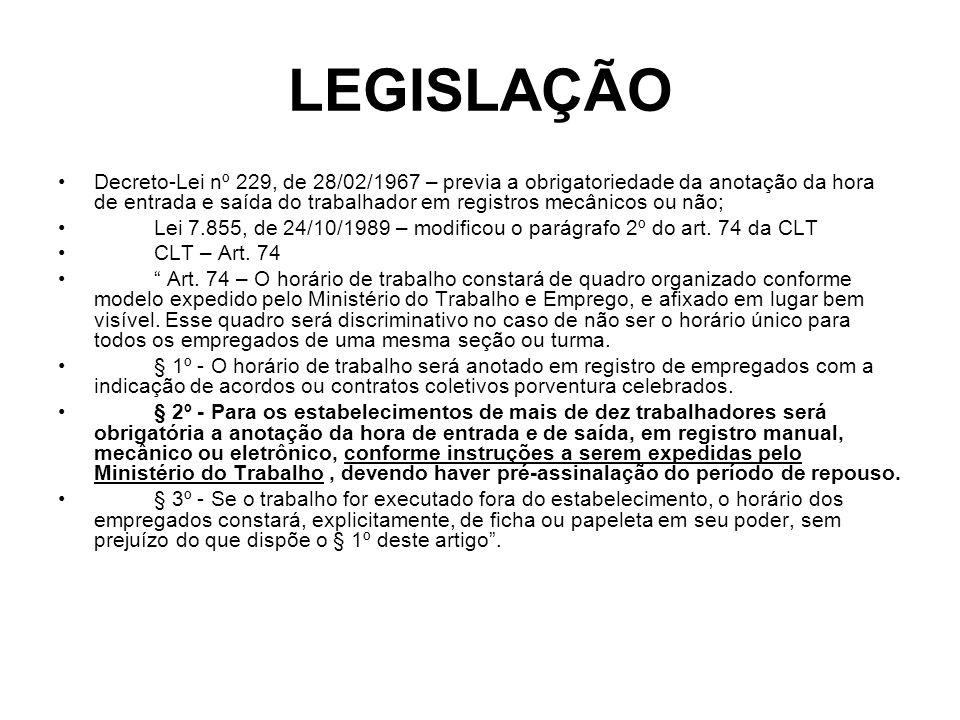 LEGISLAÇÃO Decreto-Lei nº 229, de 28/02/1967 – previa a obrigatoriedade da anotação da hora de entrada e saída do trabalhador em registros mecânicos o
