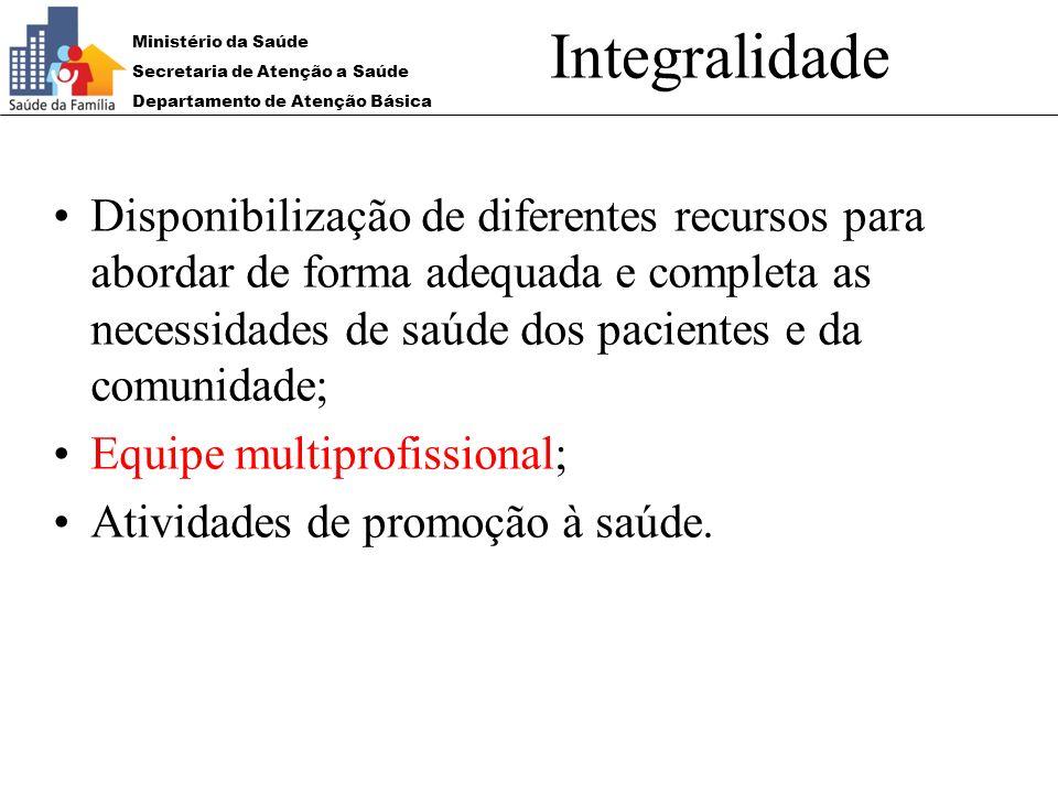 Ministério da Saúde Secretaria de Atenção a Saúde Departamento de Atenção Básica Integralidade Disponibilização de diferentes recursos para abordar de