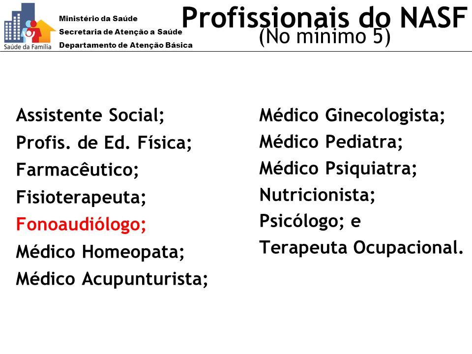 Ministério da Saúde Secretaria de Atenção a Saúde Departamento de Atenção Básica Profissionais do NASF (No mínimo 5) Assistente Social; Profis. de Ed.
