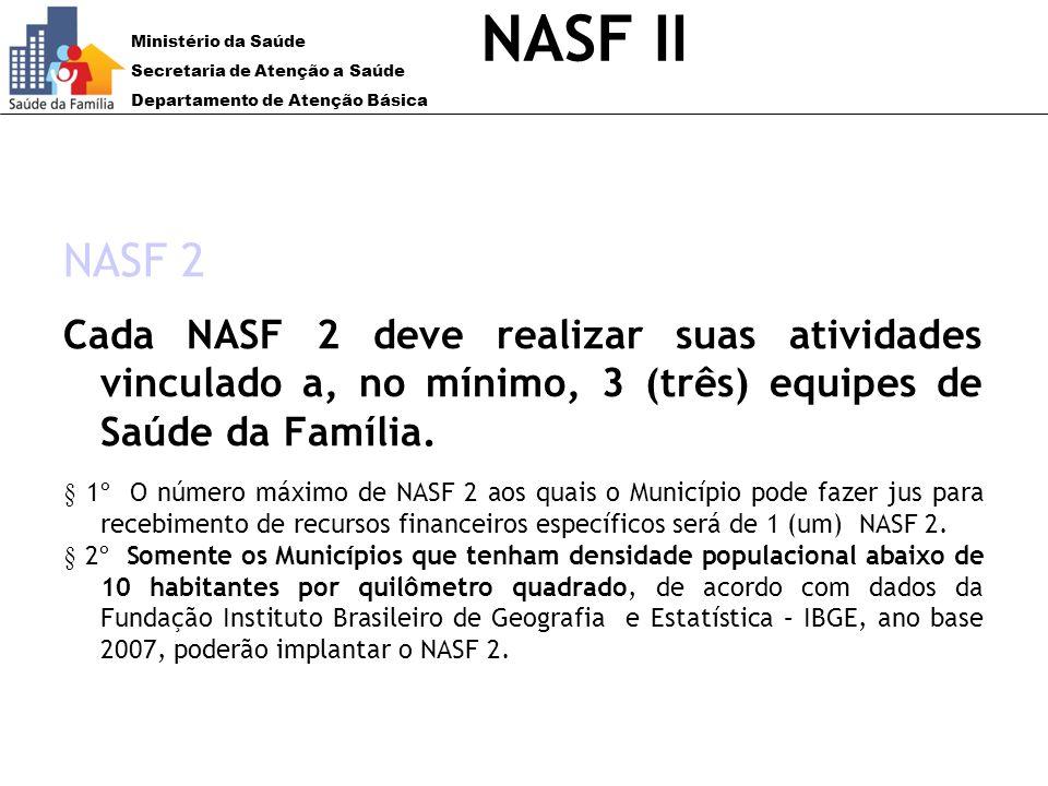 Ministério da Saúde Secretaria de Atenção a Saúde Departamento de Atenção Básica NASF II NASF 2 Cada NASF 2 deve realizar suas atividades vinculado a,
