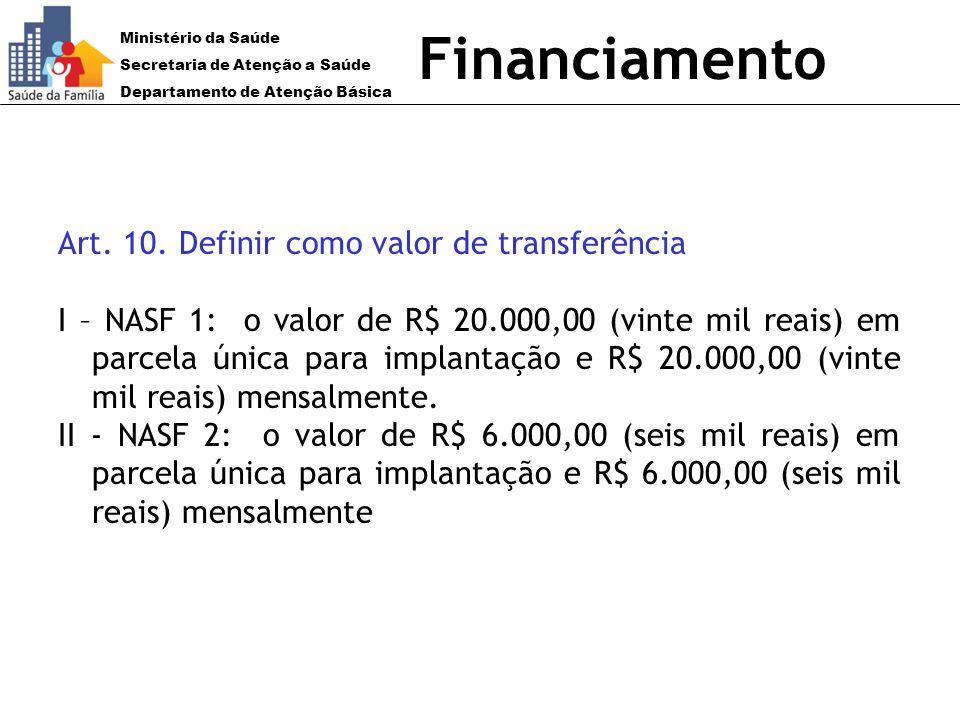 Ministério da Saúde Secretaria de Atenção a Saúde Departamento de Atenção Básica Financiamento Art. 10. Definir como valor de transferência I – NASF 1